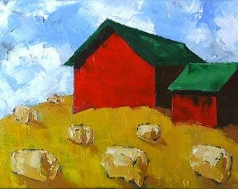 Red Farm Barn SUMMER HAY Impressionist Painting California Plein Air Landscape Lynne French 12x16