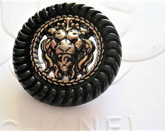 Two (2) Chanel Black Gold Lion Head CC Button, 26mm