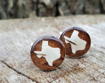 Texas Cuff Links - Birch Bark Cuff Links - Rustic Texas Wedding -  Groomsmen Cuff Links - Brown Groomsmen Gift - READY TO SHIP