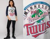 Minnesota Twins Shirt 80s Baseball Tshirt Mlb WORLD SERIES 1987 Retro Sports T shirt Raglan Sleeve Burnout Vintage Ringer Tee Medium