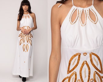 Party Dress 70s BEADED Maxi Gown White Gold 1970s Boho Prom CUT OUT Keyhole Empire Waist Vintage Cocktail Bohemian Disco Halter Neck Medium