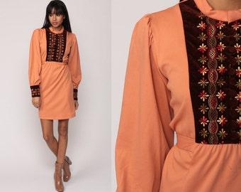 70s Mini Dress Boho Floral EMBROIDERED Print 60s Mod Puff Sleeve 1970s Bib Vintage High Waist Bohemian Salmon Orange Minidress Medium Large