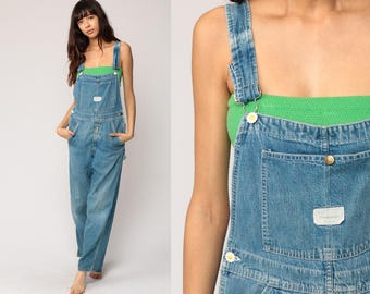 Jean Overalls Denim Overalls Pants DAISY BUTTONS Women 90s Denim GRUNGE Pants Baggy Dungarees Long Jean 1990s Vintage Blue Small