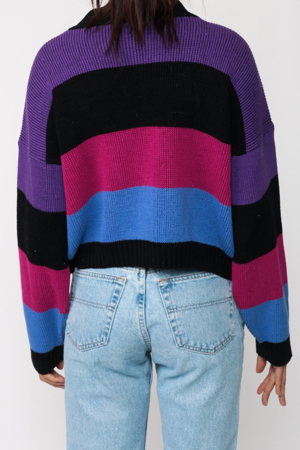 80s Sweater STRIPED Knit Color Block Cropped Blue Purple