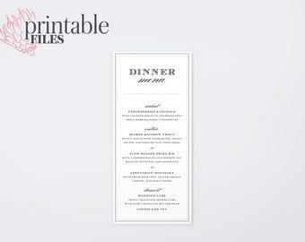 The Penelope Modern Calligraphy Playbill Wedding Menu Card (Printable)