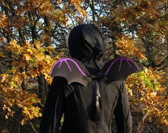 Halloween bat wings, black bat shaped glitter fairy wings, flying monkey, child/adult goth fancy dress, black, pink or purple glitter design