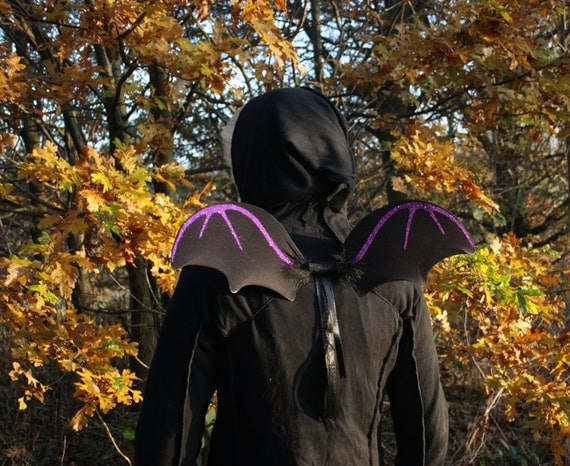 Halloween bat wings, black bat shaped glitter fairy wings, flying monkey, child/adult goth fancy dress, black, pink or purple glitter design