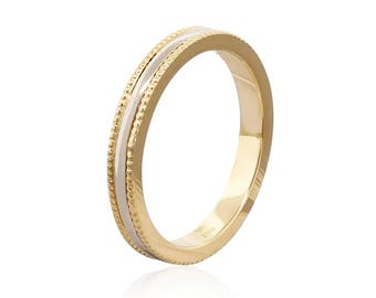 14k Gold 2.75mm Wide • Bi-color Milgrain Band Ring • Wedding Band • Wedding Ring • Promise Ring • Engagement Ring • Gift for Him