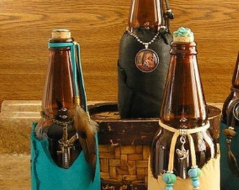 Charm Bottle, Tailsman Bottle, Your Choice 1 of 3 Leather Wrapped amber glass Cerveza bottles, price is for one bottle