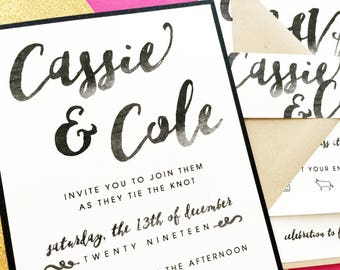 Wedding Invitation, Wedding Invite, Custom Wedding Invitations, Watercolor Brush Script Invitations, Modern Wedding Invitations