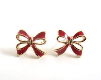 Vintage 80's Avon Red Enamel Bow Earrings
