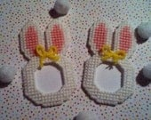 2 Handmade White Easter Bunny Picture Frame Magnets Plastic Canvas