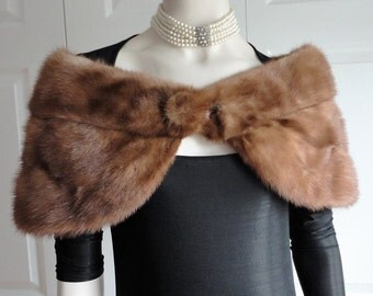 Vintage Light Brown Mink Fur Stole Capelet Wrap  from 60s