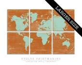 Large World Map Multi Colored Wall Art - Vintage Map Print Collection