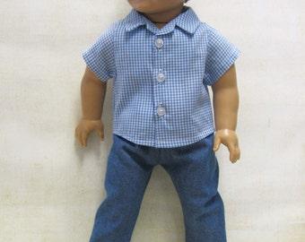 "Blue Plaid Sport Shirt with Denim Pants for 18"" Boy Doll"