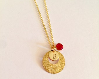 Personalized Round Light Golden Frosted necklace Handstamp