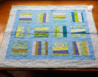 Baby Quilt Bright blues and greens