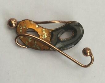 Vintage Matisse Masquerade Copper Enamel Brooch Pin