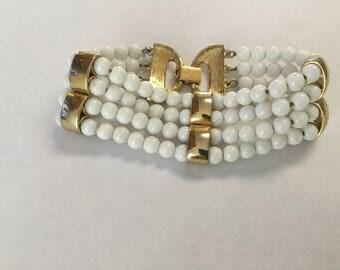 Vintage Monet Chunky 4 Strand White Bead Summer Bracelet