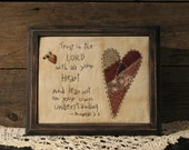 Primitive Stitchery, Trust in the Lord with all Your Heart Country Sampler, Primitive Decor