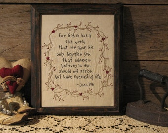Primitive Framed Stitchery of John 3:16, For God So Loved