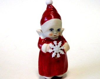"Penny doll 3"" porcelain dressed in Christmas Red"