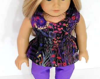 Trendy 18 Inch Doll Clothes Handmade Peplum Top and Purple Skinny Jeans for American Girl Doll