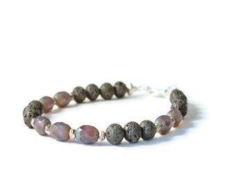 Aromatherapy Essential Oil Diffuser Bracelet, Lava Stones & Purple Czech Glass