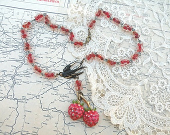 red raspberry assemblage necklace eco friendly ucycled vintage jewelry pin blackbird berry