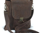 SALE Men's leather bag, Men's leather messenger,  brown leather  crossbody,ipod   bag busness office , gift for christmas,