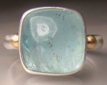 Aquamarine Ring, Aquamarine Cabochon Ring, 14k Gold and Sterling Silver