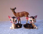 Vintage Anthropomorphic Deer Salt and Pepper Shakers,  Bambi, Japan, Big Eye Lashes Spring Spotted Fawns, Kitchen Cottage Christmas Creature