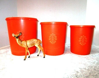 3 Vintage Tupperware Nesting Canisters w/ Servalier lids + Swirl Design, Store Space Saving Set Plastic, Orange, Thumb Press + Seal Lids