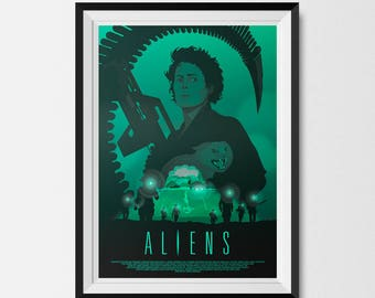 Aliens, Aliens Print, Science Fiction, SciFi Art, Ripley, Xenomorph, Alternative Movie Poster, Movie Poster, Ellen Ripley, Dark