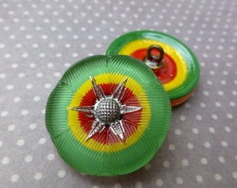 free UK postage - Pack of 2 Czech Handmade Glass Shank Button Green Red and Yellow