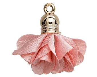 free shipping in UK - Pack of 5 Pink Flower Tassel Pendants Gold Plated Tassel Charms
