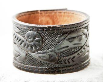Tooled Leather Jewelry Bracelet Cuff Made From Vintage Belt Rainwheel