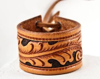 Brown Leather Jewelry Tooled Belt Bracelets Cuffs