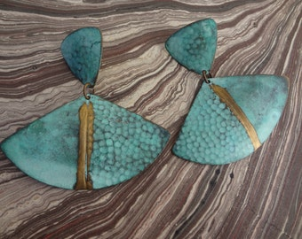 Turquoise Earrings. Post earrings. Blue Gold design. 2 inches long 2 across. Tribal, boho, hippie style earrings. Simple and fun.