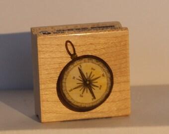 Vintage Traverlers Compass Rubber Stamp