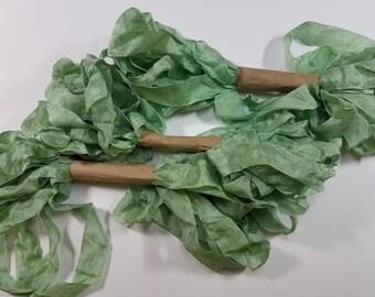 Fresh Mint Green Shabby RIBBON crinkled vintage seam binding