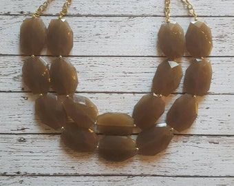 Latte Brown Chunky Statement Bib Necklace...Purchase 3 or more get 10% off