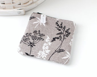 Black and White Botanical Coin Purse Floral Change Purse Floral Gift Card Holder