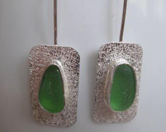 Sea Glass Earrings - Bright Green Sea Glass and Sterling Silver Earrings