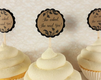 She asked, She said Yes Wedding Cupcake Toppers Bridal Shower Cake Top Black and Brown Kraft Set of 12 Gay Lesbian Wedding LGBTQ