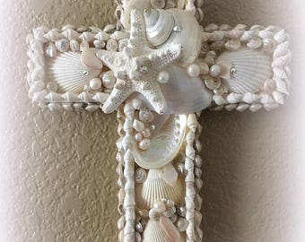 White Willow Seashell Cross