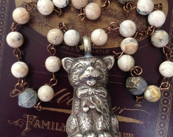 Reserved For Shelby- Vintage Cat Baby Rattle Long Necklace, Boho, Vintage Assembled Antique Reconstructed