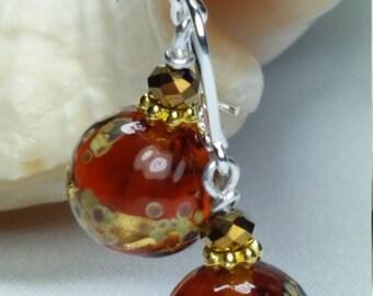 Amber color Earrings in Murano glass , Gustav Klimt style