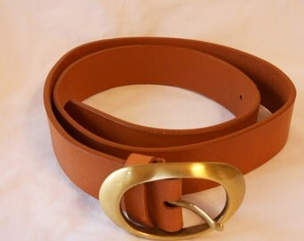 Coldwater Creek Ladies Belt Tan Brown Leather small Brass Buckle
