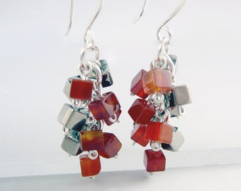 Carnelian Earrings, Cluster Earrings, Carnelian Jewelry, Nickel Free Earrings, Cube Earrings, Trendy Jewelry, Nickel Free Jewelry